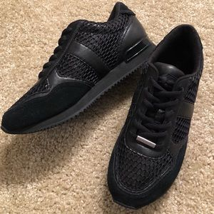 DKNY Black Patent Leather & Mesh Sneakers